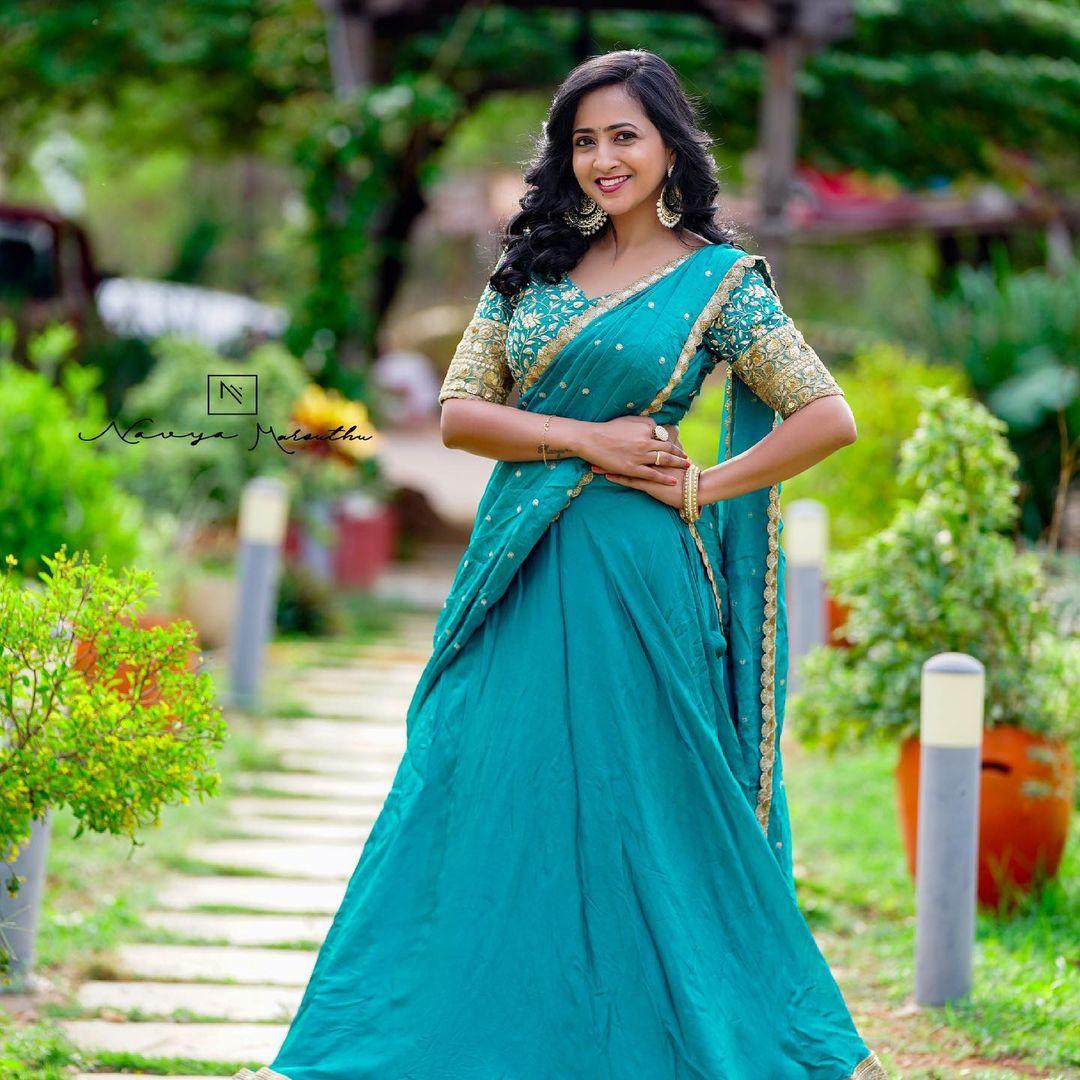 Beautiful actress Lasya Manjunath in lehenga set. 2021-06-09