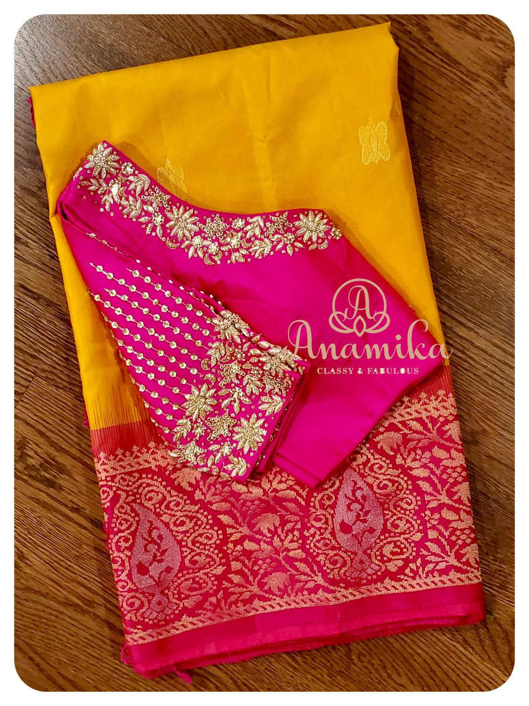 Show Stopper Outfit  Steal the show in this yellow/pink Kanchi soft silk saree - paired with a fantabulous pink blouse ! The beautifully and intricately designed work is such a delight to the eyes … DM 360-545-3636 for inquiries 2021-06-10