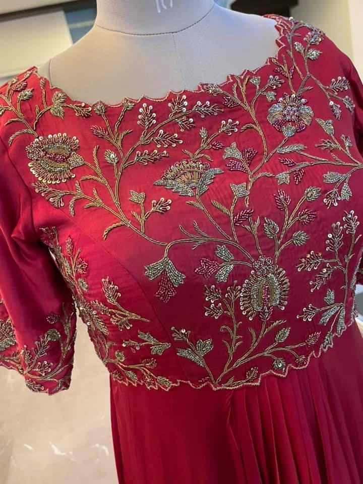 Stunning pure satin silk long frock or floor length dress with creeper hand embroidery zardosi work on yoke. Price : 9500 INR Fabric : Pure Satin silk To order WhatsApp 7013728388 2021-06-10