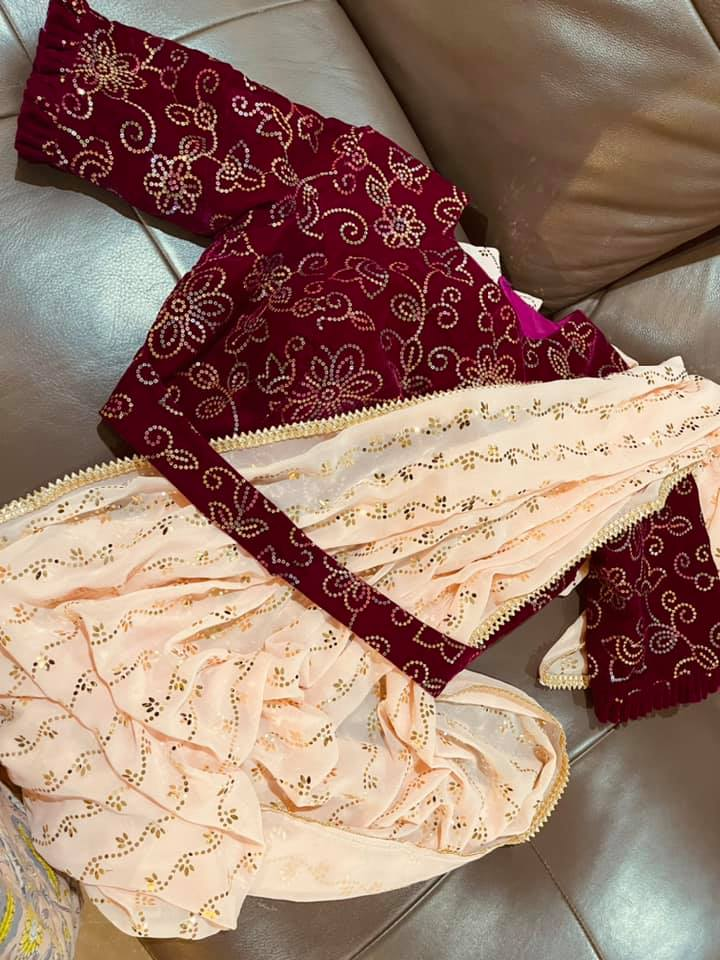 Price : 5500 INR Fabric : Georgette saree with velvet seq embroidery blouse To order WhatsApp 7013728388 2021-06-10