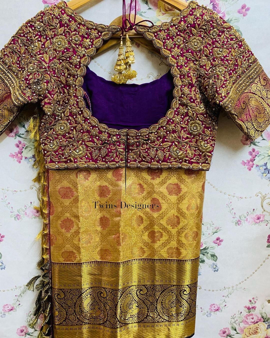 Customised maggamwork blouse. Stunning purple color bridal blouse design with gold thread maggam work. 2021-06-10