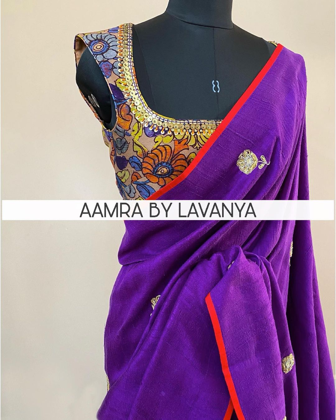 Hand embroidered zardosi work saree with all over floral motifs paired with a hand embroidered kalamkari silk blouse. For orders and queries call/whatsapp on +91-9177363970 2021-06-10