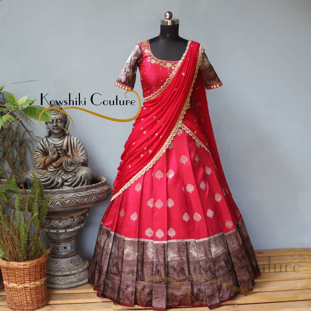 Glorious Red Half Saree this time with silver shade heavy border!!! 2021-06-10