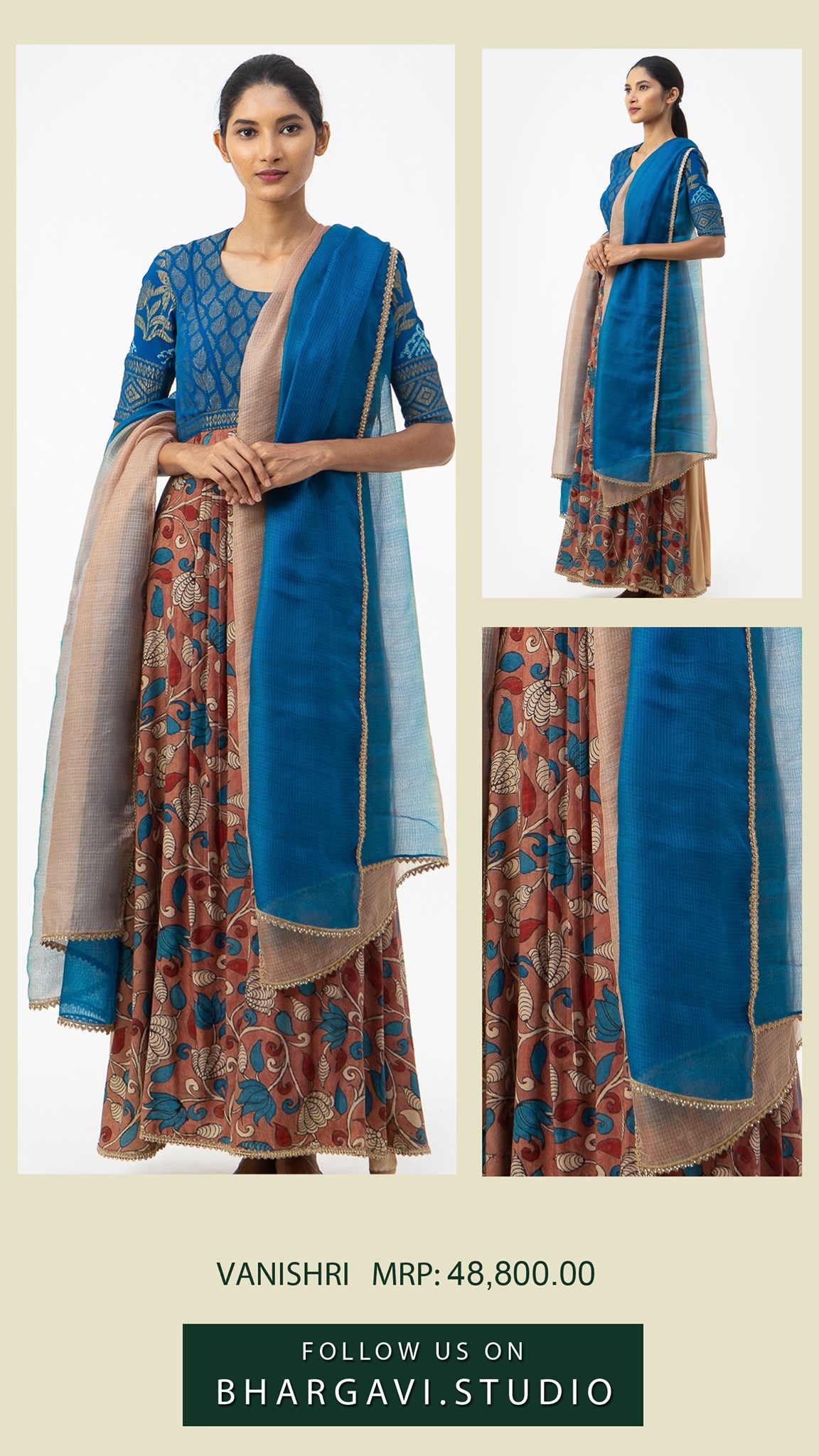 Beautiful blue and brown color combination Georgette silk kota long frock. Price : 48800/- 2021-06-11
