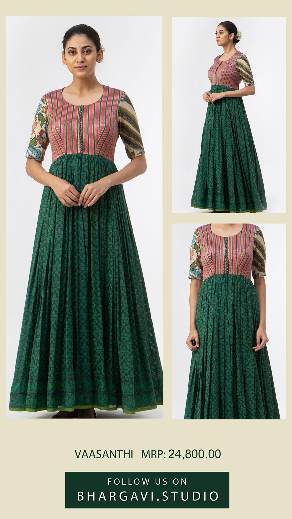 Beautiful green and pink color combination janmdani cotton benaras long frock. Price : 24800/- 2021-06-11