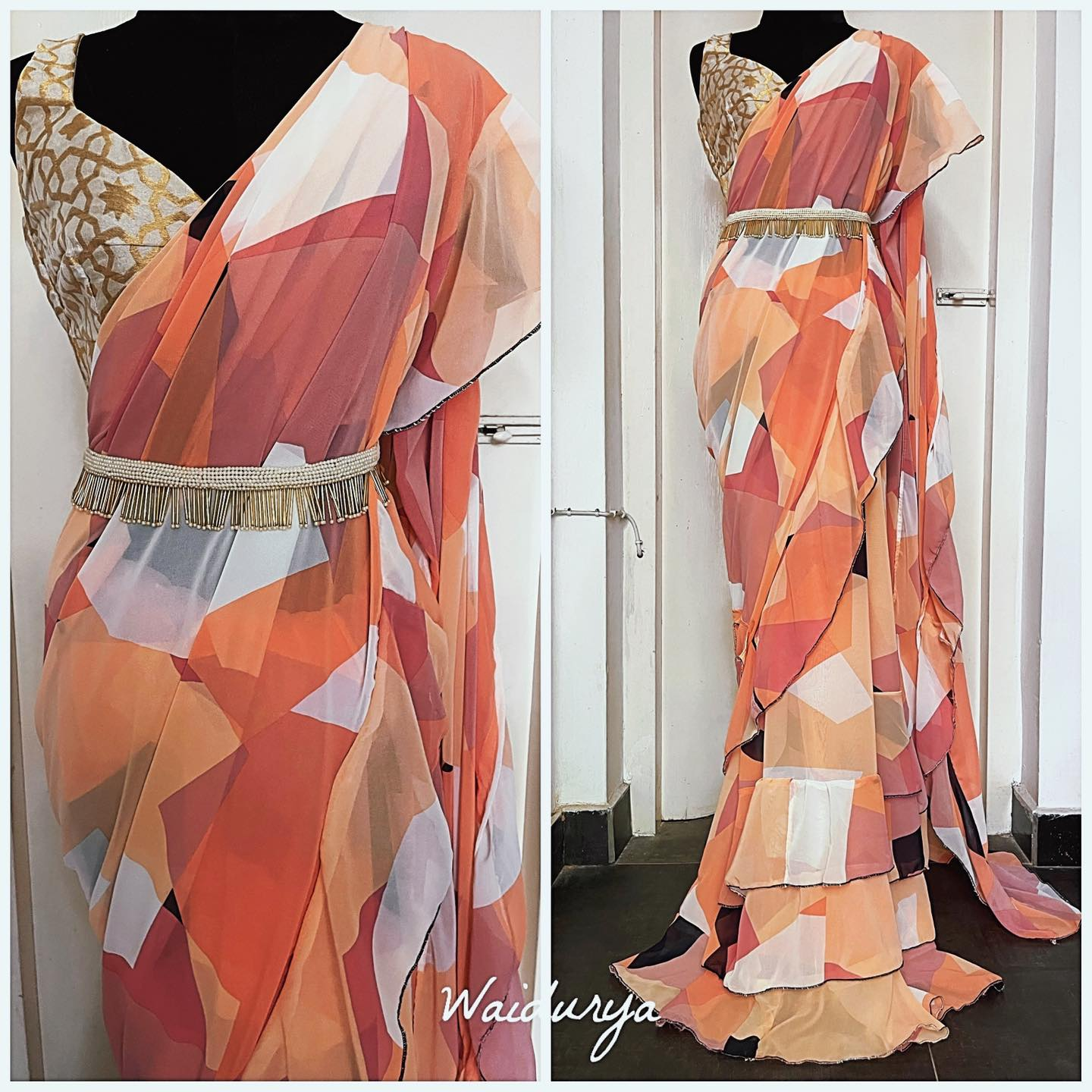 Beautiful georgette sari in a blend of pastel hues in a geometric design makes it modern and fresh! It is fully tailored in a layered ruffle design. The blouse is a ode to our Indian heritage with a geometric design ivory and gold silk brocade fabric.  2021-06-11