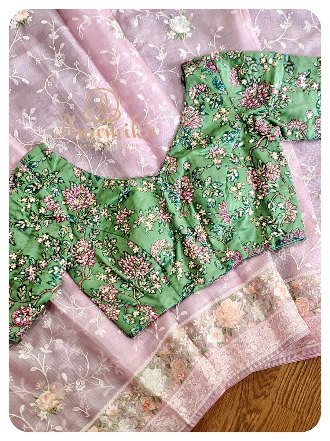 Kota chikankari in 2 lovely pastel shades - paired with even more beautiful floral work blouses.  Wow
