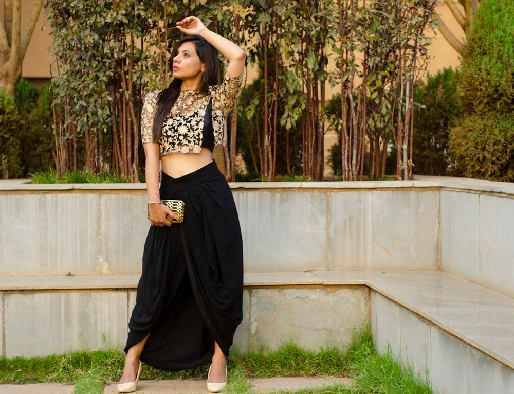 Beautiful black indo western outfit!  Designed by Lavender The Boutique For details-