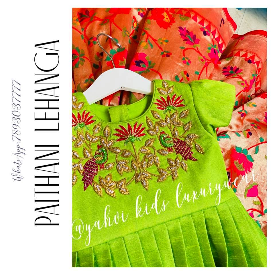 Beautiful paithani kids lehanga paired with bold hand embroidery pleated blouse . Limited edition grab soon. . For orders : DM or whatsapp 7893037777( messages only  no calls plz )  2021-06-11