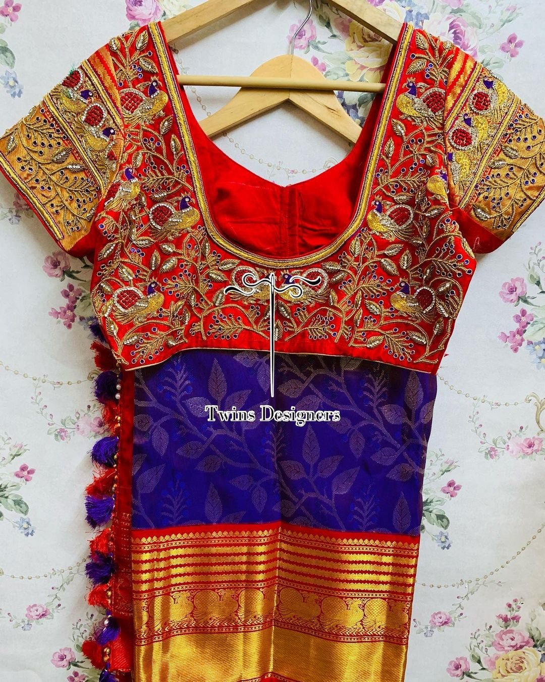 Customised maggamwork blouse. Stunning red color bridal blouse with maggam work. 2021-06-11