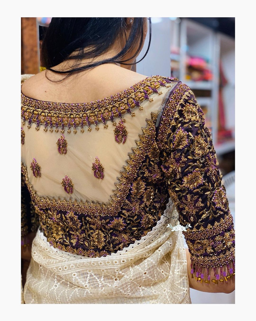 Stunning thick wine color bridal blouse sheer back with  floral bead aari work. 2021-06-11