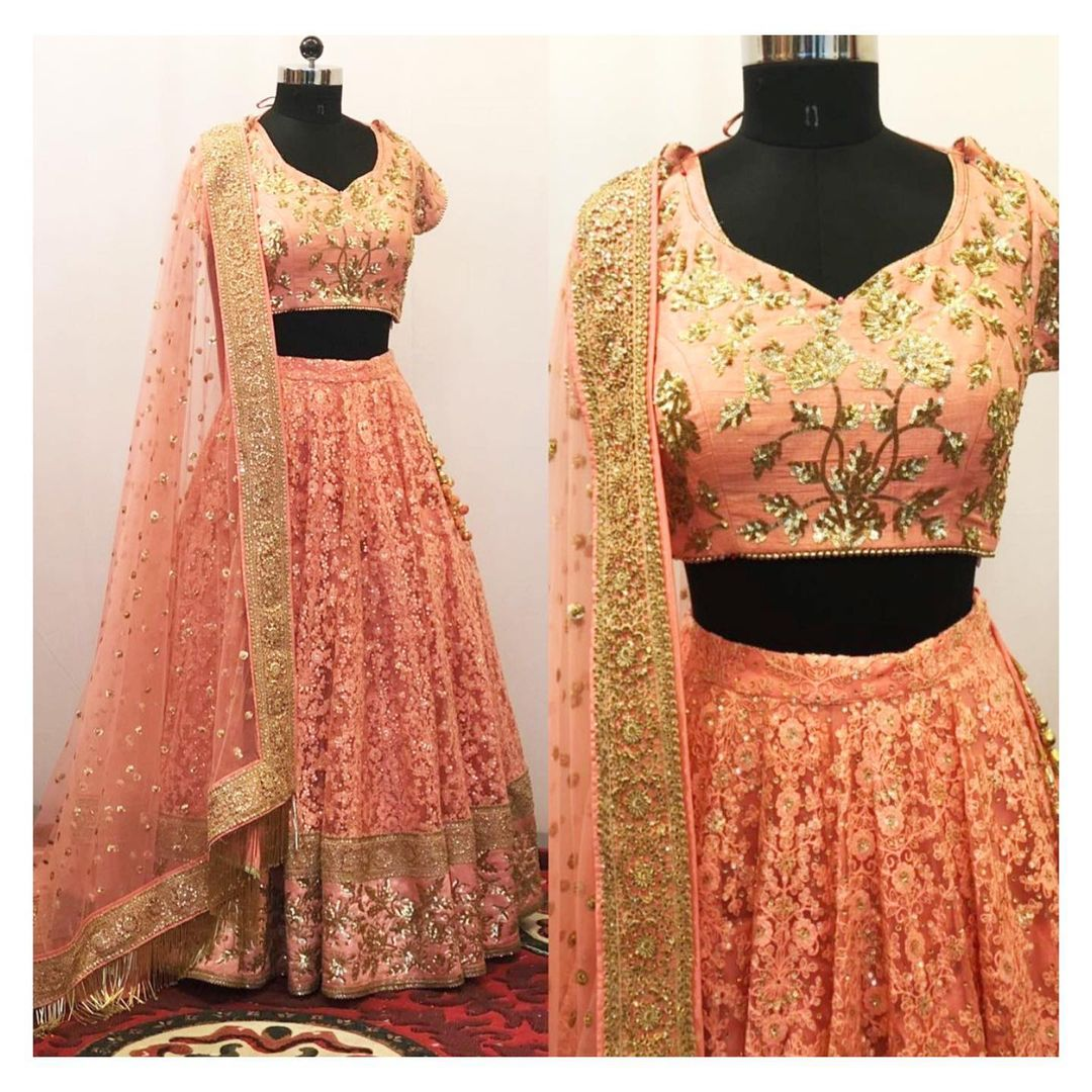 Customized hand embroidered bridal lehenga set. To customize/order/enquiry  email at shivani@intricado.com or  Whatsapp at +918527463626 2021-06-11