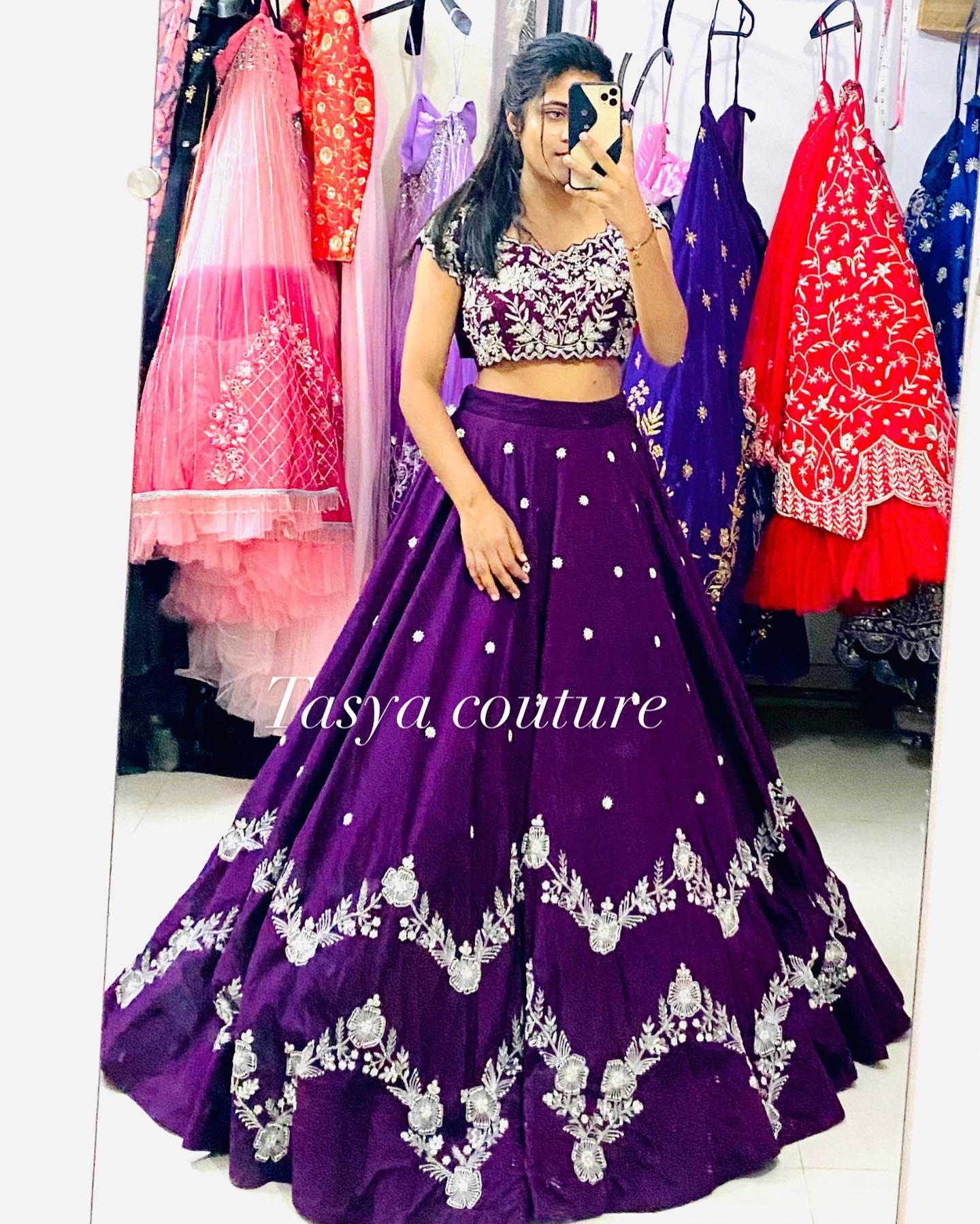 Purple bridal lehenga with uneven work . 2021-06-12