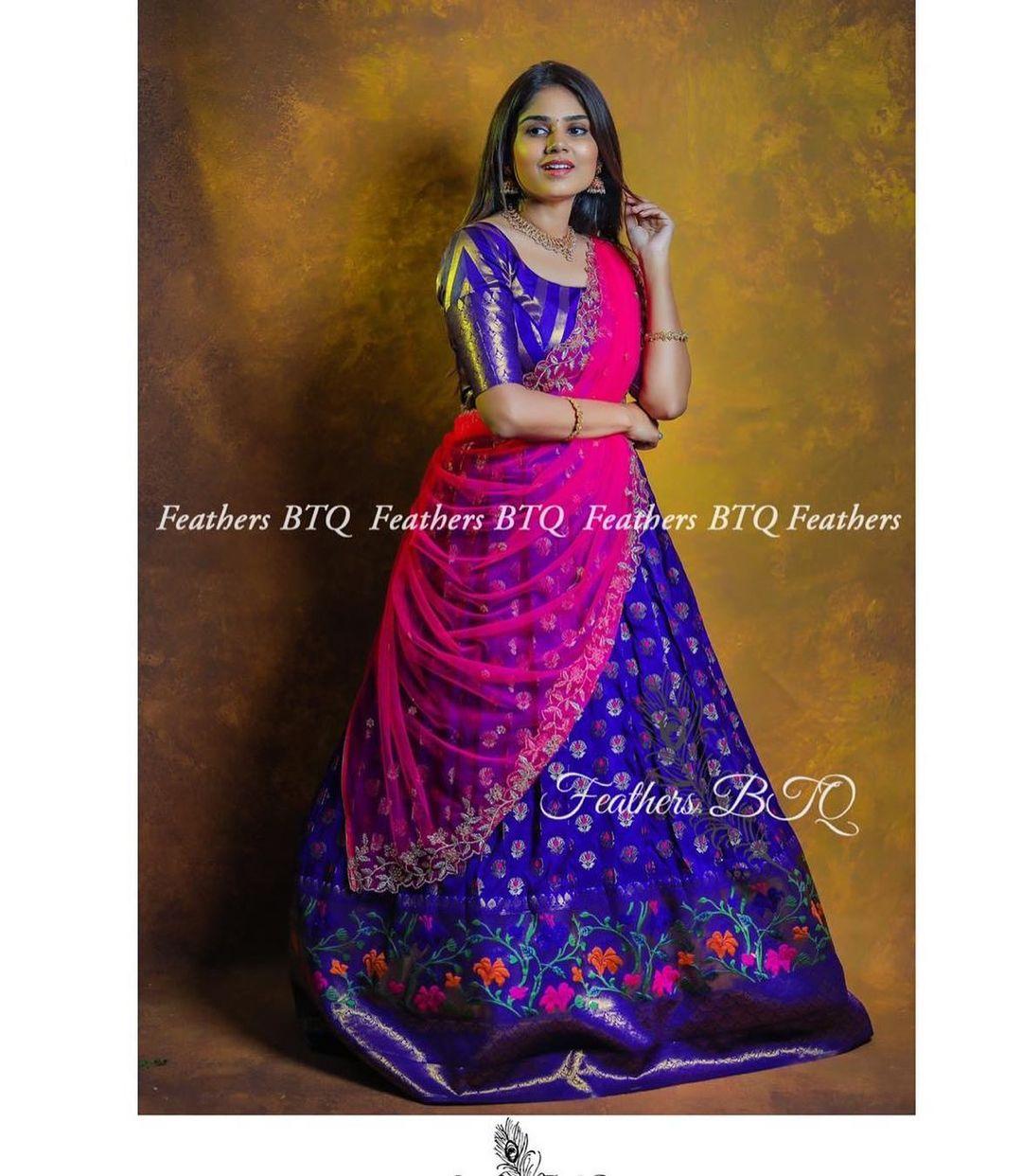 Beautiful blue and pink color combination bridal lehenga set.  2021-06-12