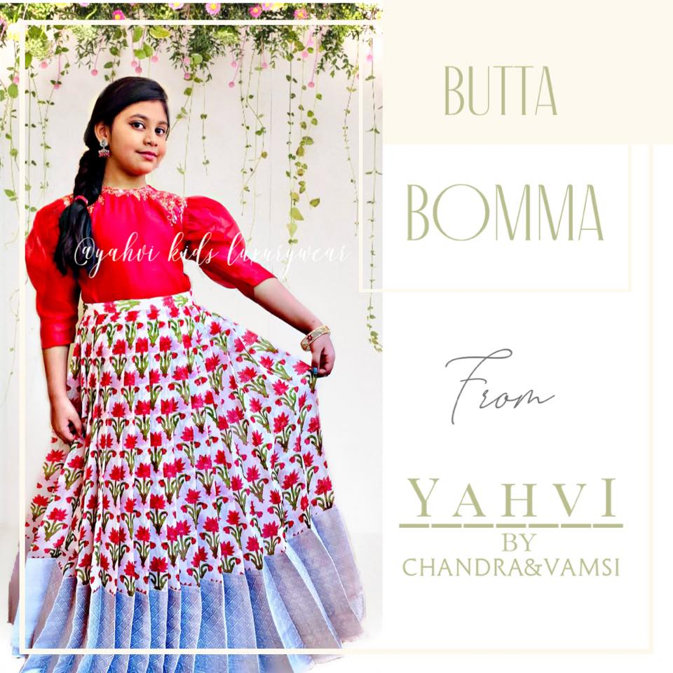 Butta bomma series ... Look trendy in kids red organza long top and jute Lenin skirt in beautiful red floral motifs and silver Kanjeevaram style border .  Limited edition . Hurry up