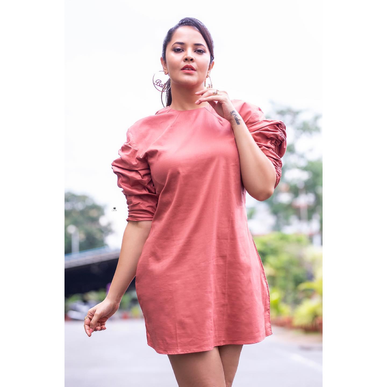 Beautiful actress Anasuya Bardwaj in shirt dress. 2021-06-13