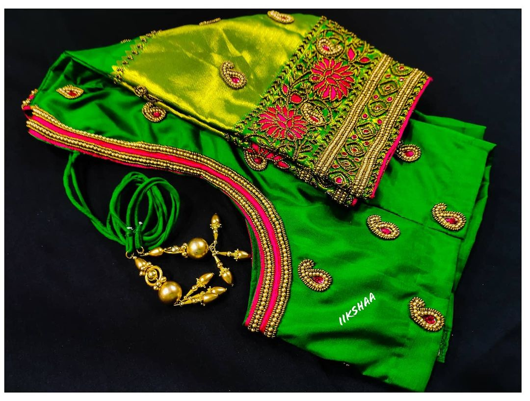 Gorgeous parrot green color blouse design with mango butis and floral design hand embroidery  bead and stone aari work. 2021-06-13