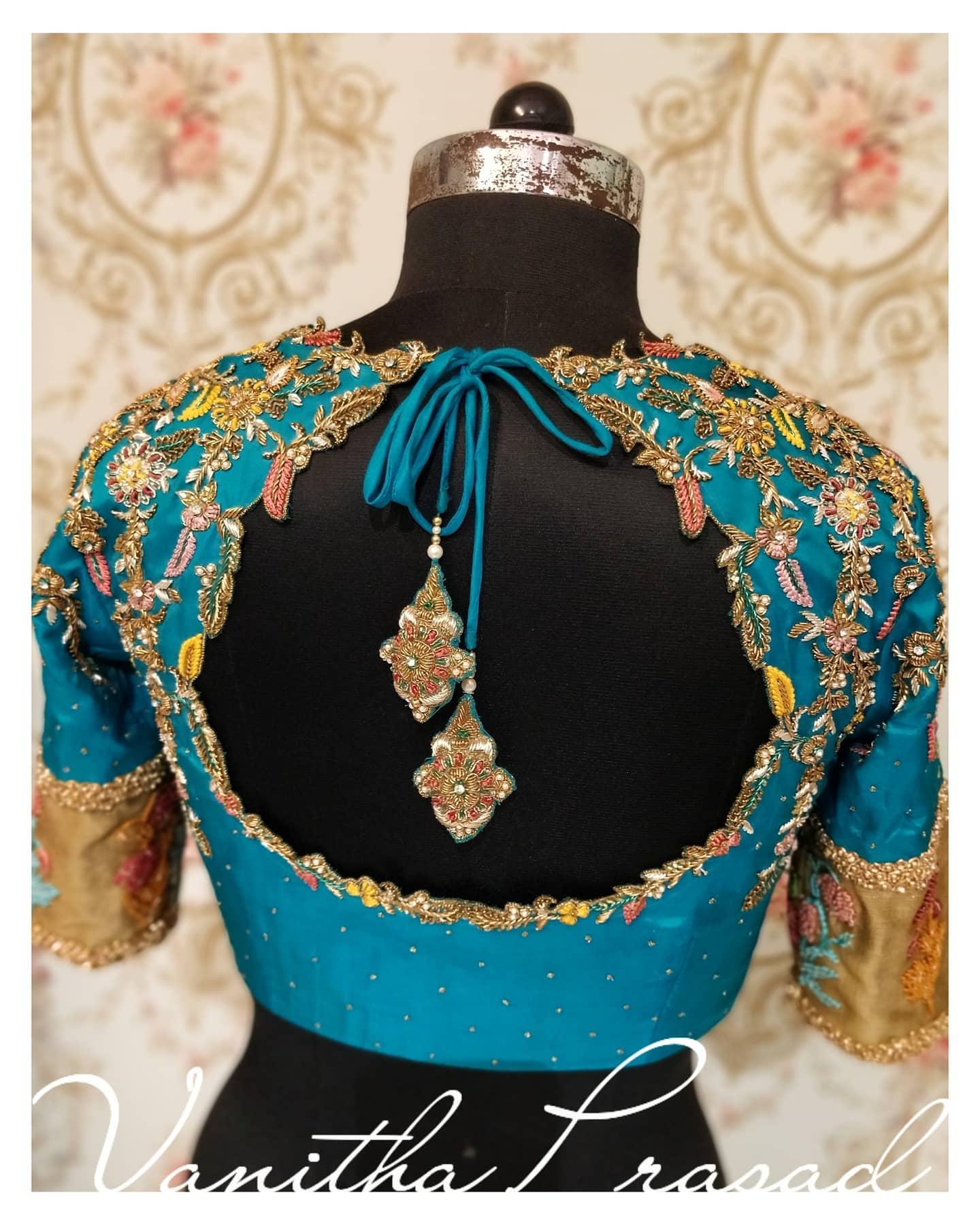 Cut work embroidery bridal blouse!!!!!   Cut work embroidery effortlessly spiced up with the colours as in the saree. They just totally love the way it shaped out. 2021-06-14