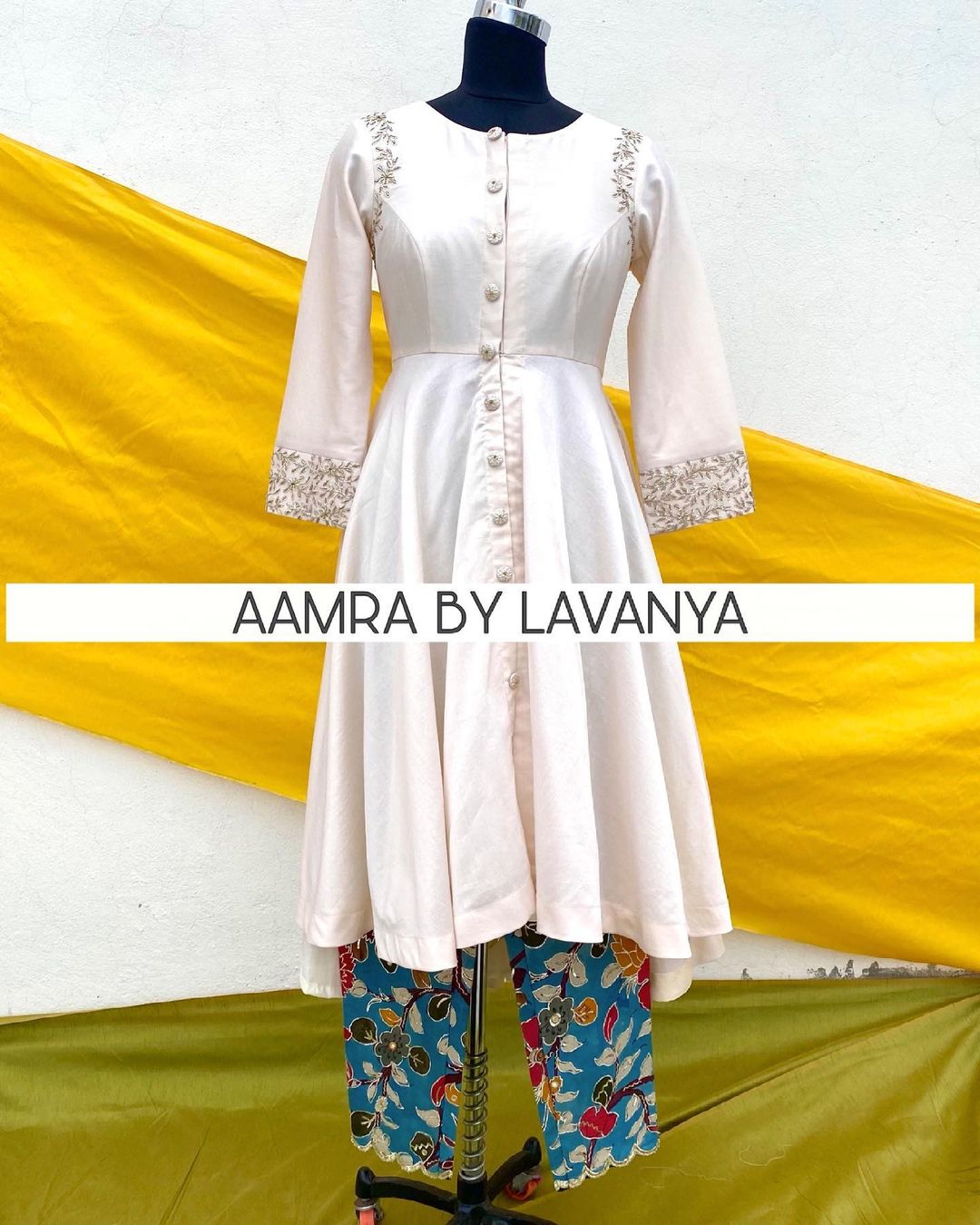 Hand embroidered high low anarkali paired with hand painted and hand embroidered pen kalamkari straightpants. For orders and queries call/whatsapp on +91-9177363970 2021-06-14