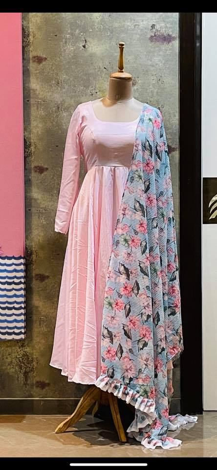 Ready to ship Price : 4500 INR Fabric : Semi silk Anarkali with sequence work printed Duppatta  To order WhatsApp 7013728388 2021-06-15