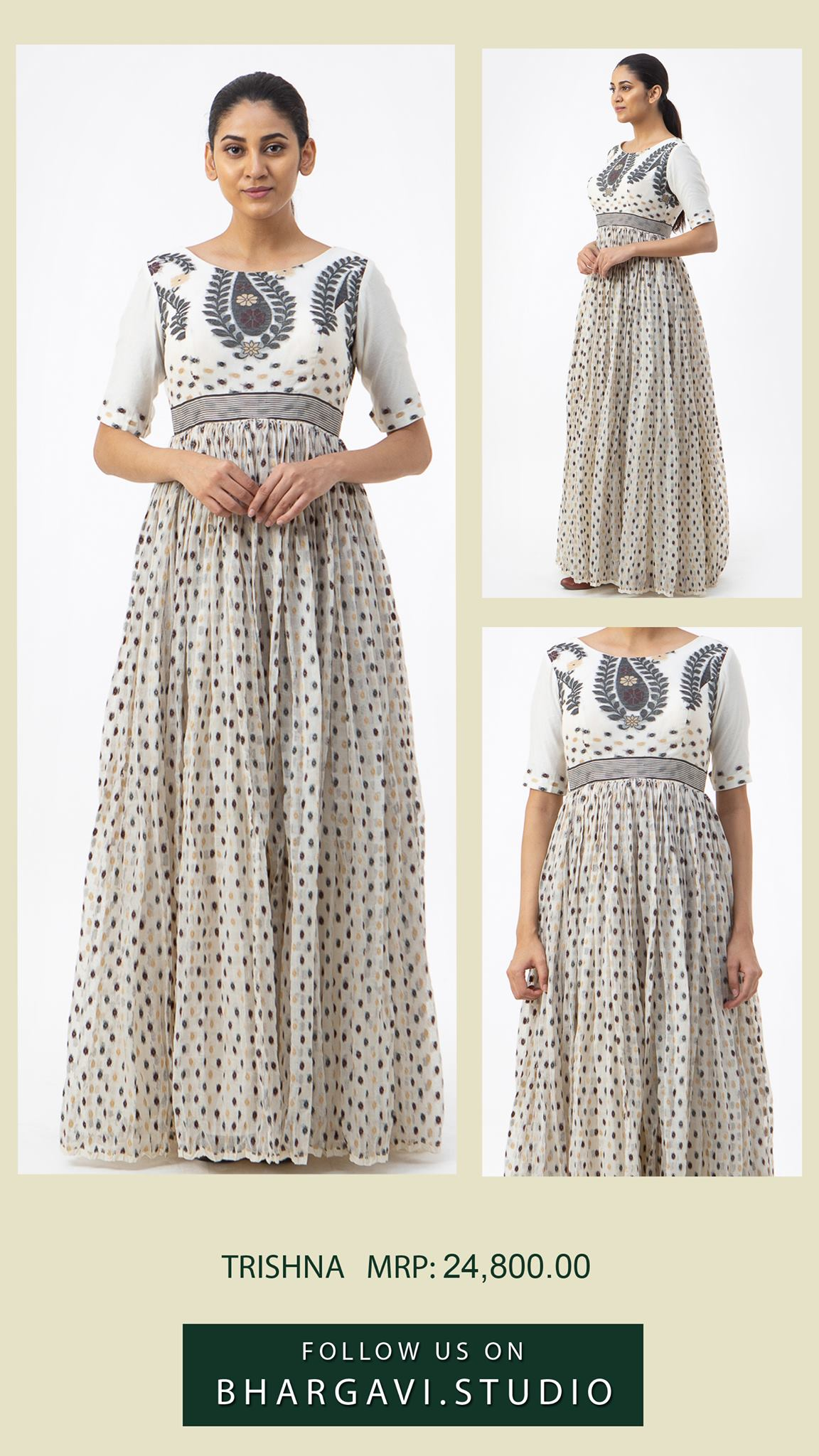 Statement style signature long frock in white and black jamdani composed in a gathered pattern.  2021-06-15