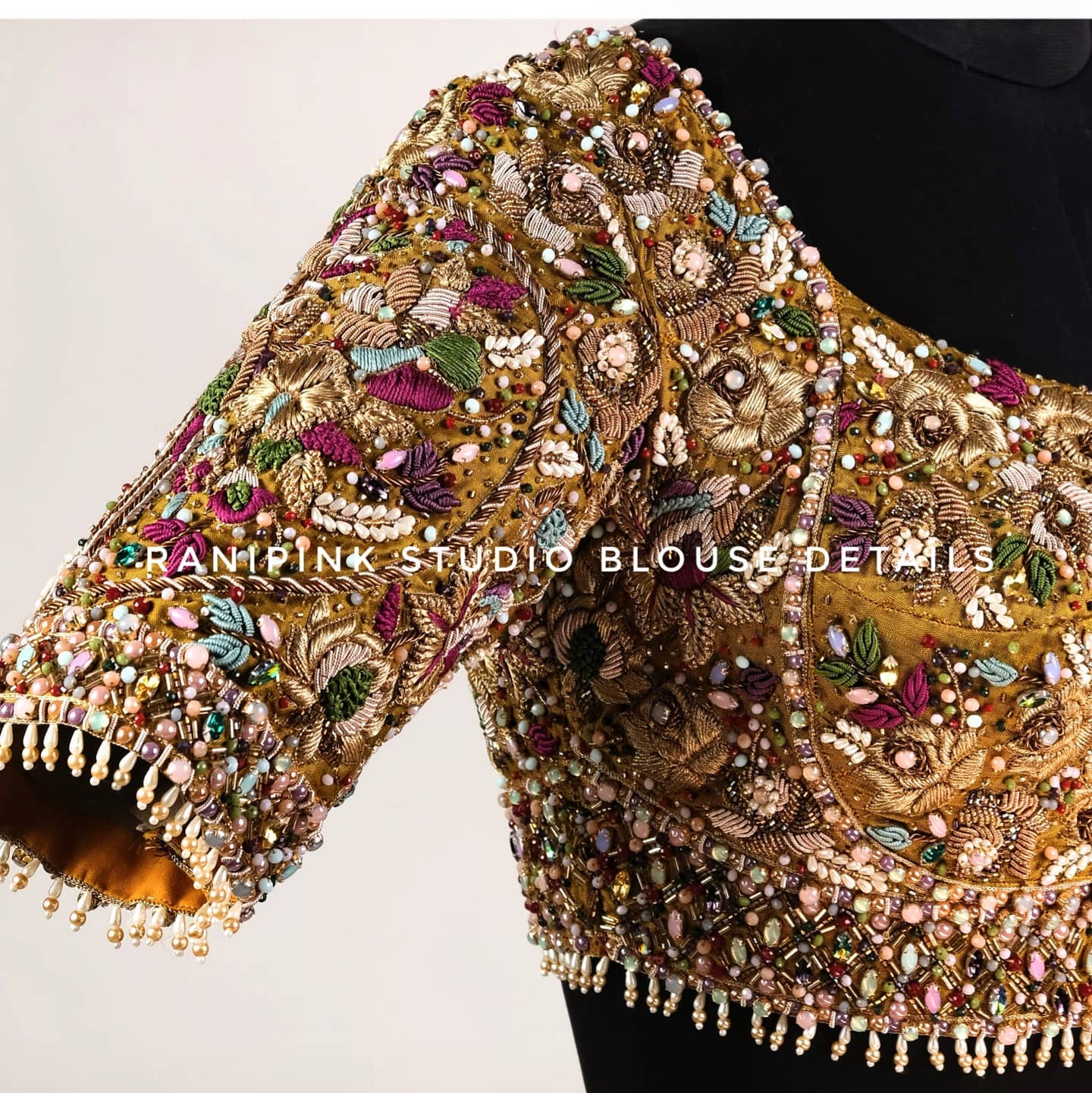 Bridal Blouse !!! One of Signature style blouse with pearls and stones. Stunning bridal blouse with hand embroidery  pearls and stones.   For appointments call or whatapp  at 8884620620 . 2021-06-15