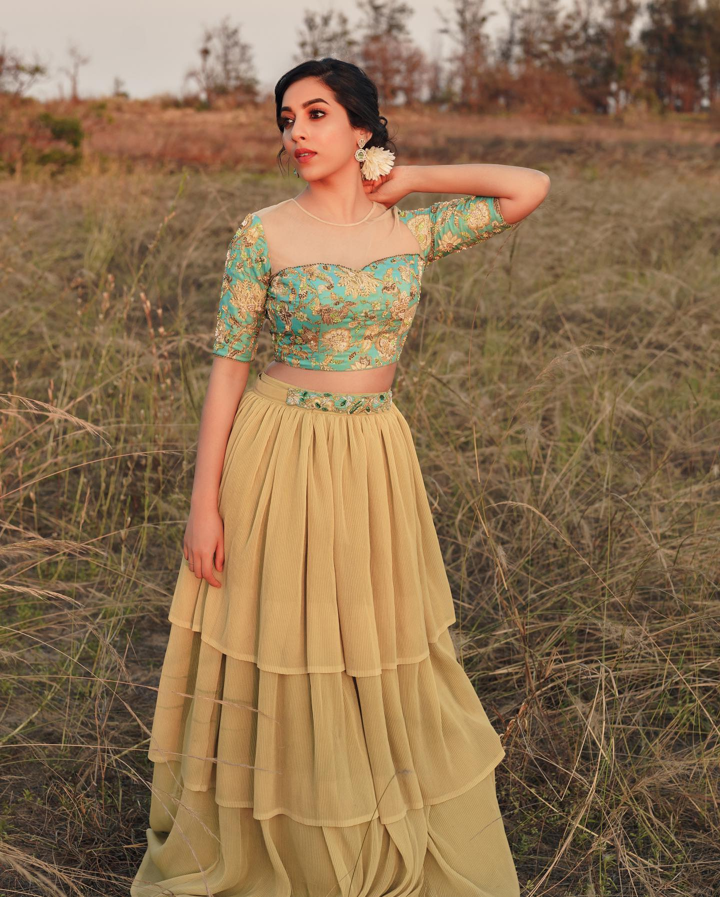 """Floral edit!  Printed floral crop-top paired with pleated shimmer Georgette  layered lehenga!  . Separate Embellished waist belt for added """"wow"""" factor!  2021-06-15"""