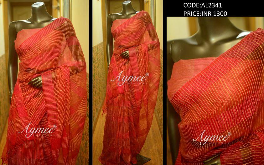 Saree with blouse piece(CODE:AL2341) Material - Jute Organza saree. 2021-06-15
