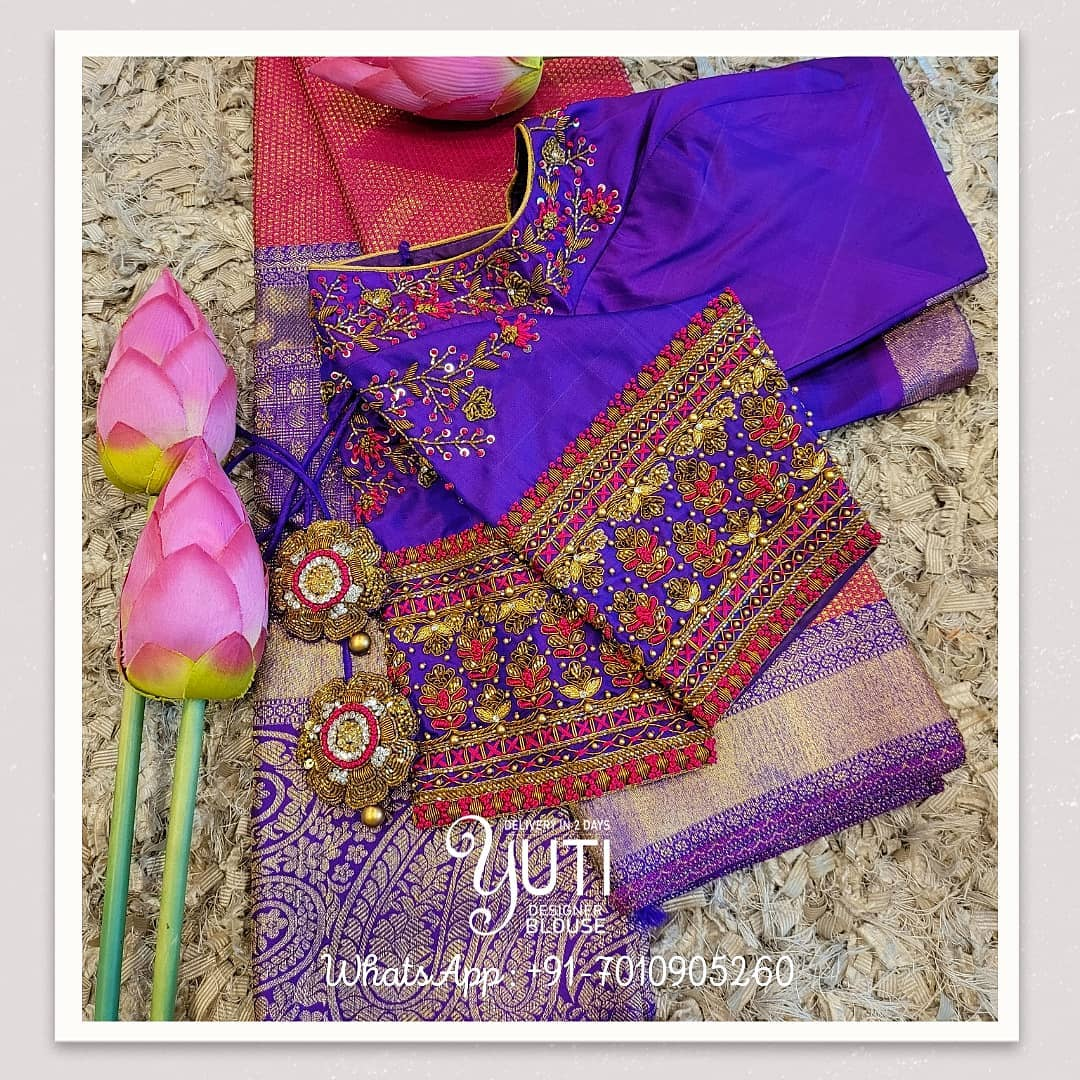 Stunning blue color bridal blouse design with floral climber hand embroidery zardosi work.  2021-06-15