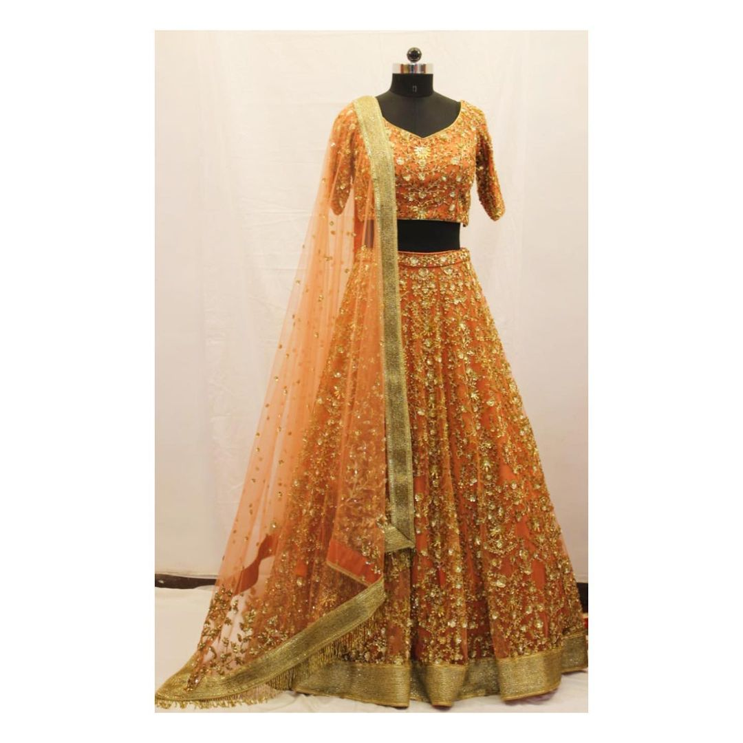Tilla sequins and beads hand embroidered lehenga. For customisation  enquiry/order shivani@intricado.com or  Whatsapp:- +91 8527463626 2021-06-15
