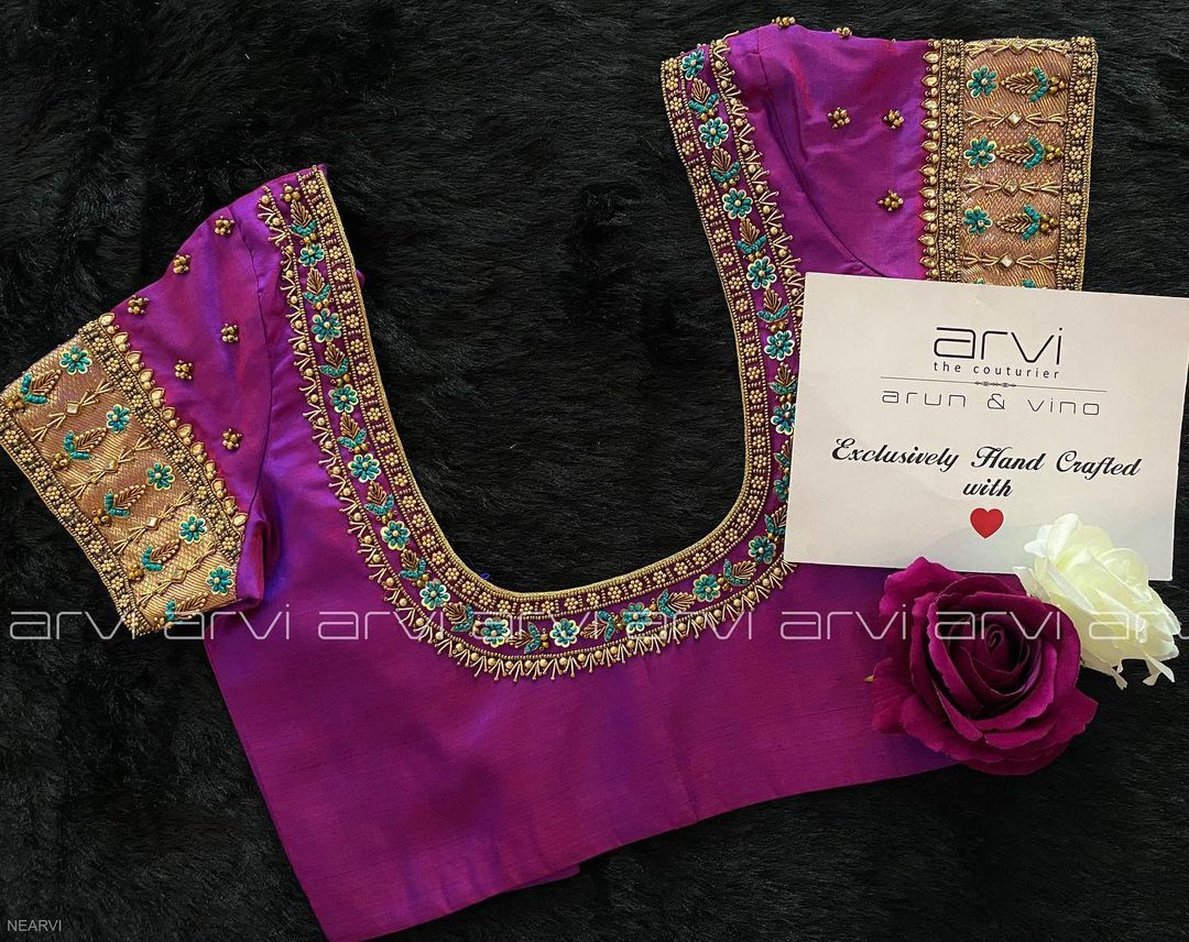 Beautiful simple purple color bridal blouse with tiny floral sequence hand embroidery bead aari work on neckline and sleeves.   2021-06-15
