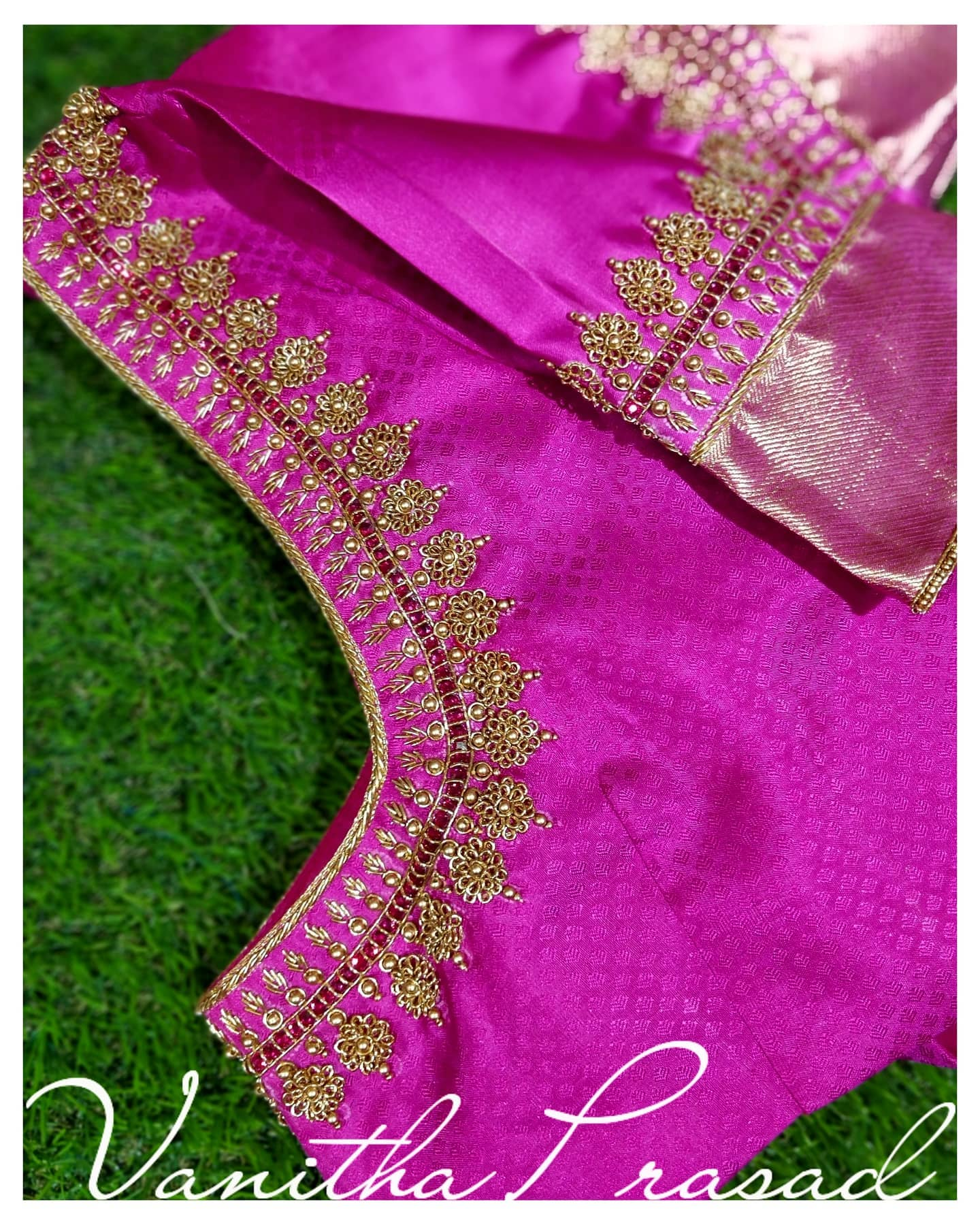 Simple and elegant blouse design. Beautiful pink color blouse design with floral gold thread zardosi work on on neckline and sleeves. 2021-06-16