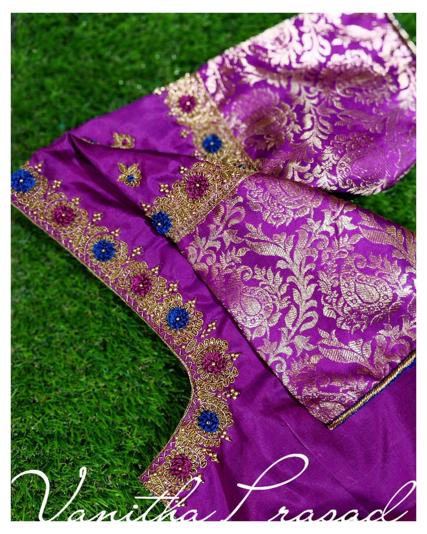 Simple and elegant blouse design. Beautiful purple color blouse design with floral gold thread zardosi work on on neckline and sleeves. Blouse with silver zari sleeves. 2021-06-16