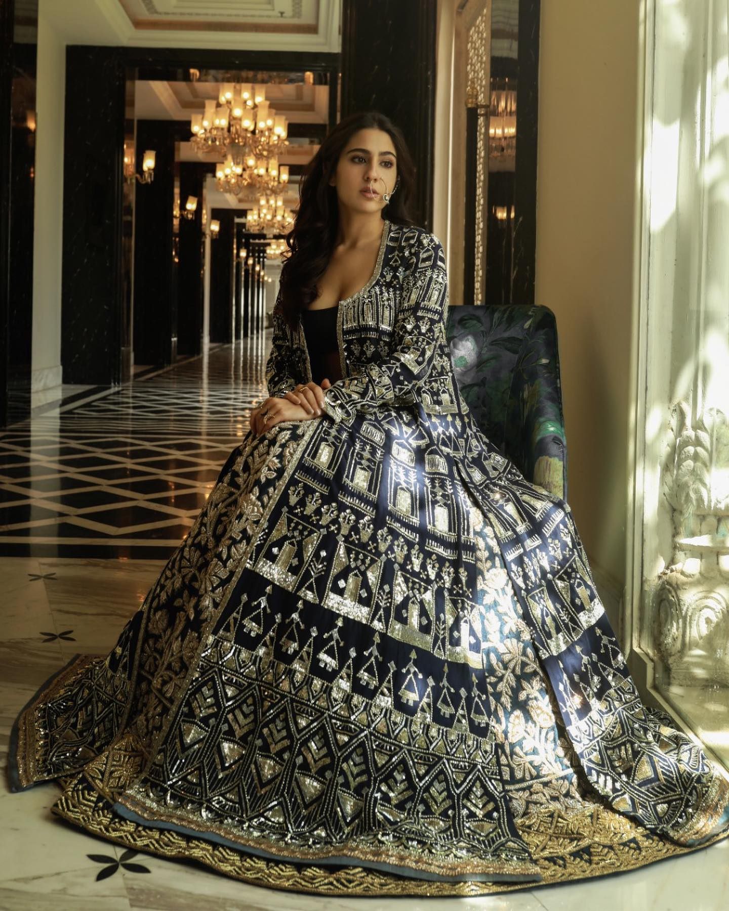 Sara Ali Khan The New-Age Noor of Nooraniyat unearthing the unseen glorious textures architecture patterns and imperial hues that unite in our grand twirling escapade. For queries please email  at support@manishmalhotra.in Available via virtual consultant on:  Virtual Consultant: +91 93219 92634 Mumbai: +91-9987719978 / +91-9833946835 Delhi: +91-9818684859 / +91-9811926066 Hyderabad: +91 8828234488 / +91 9324358762 2021-06-16