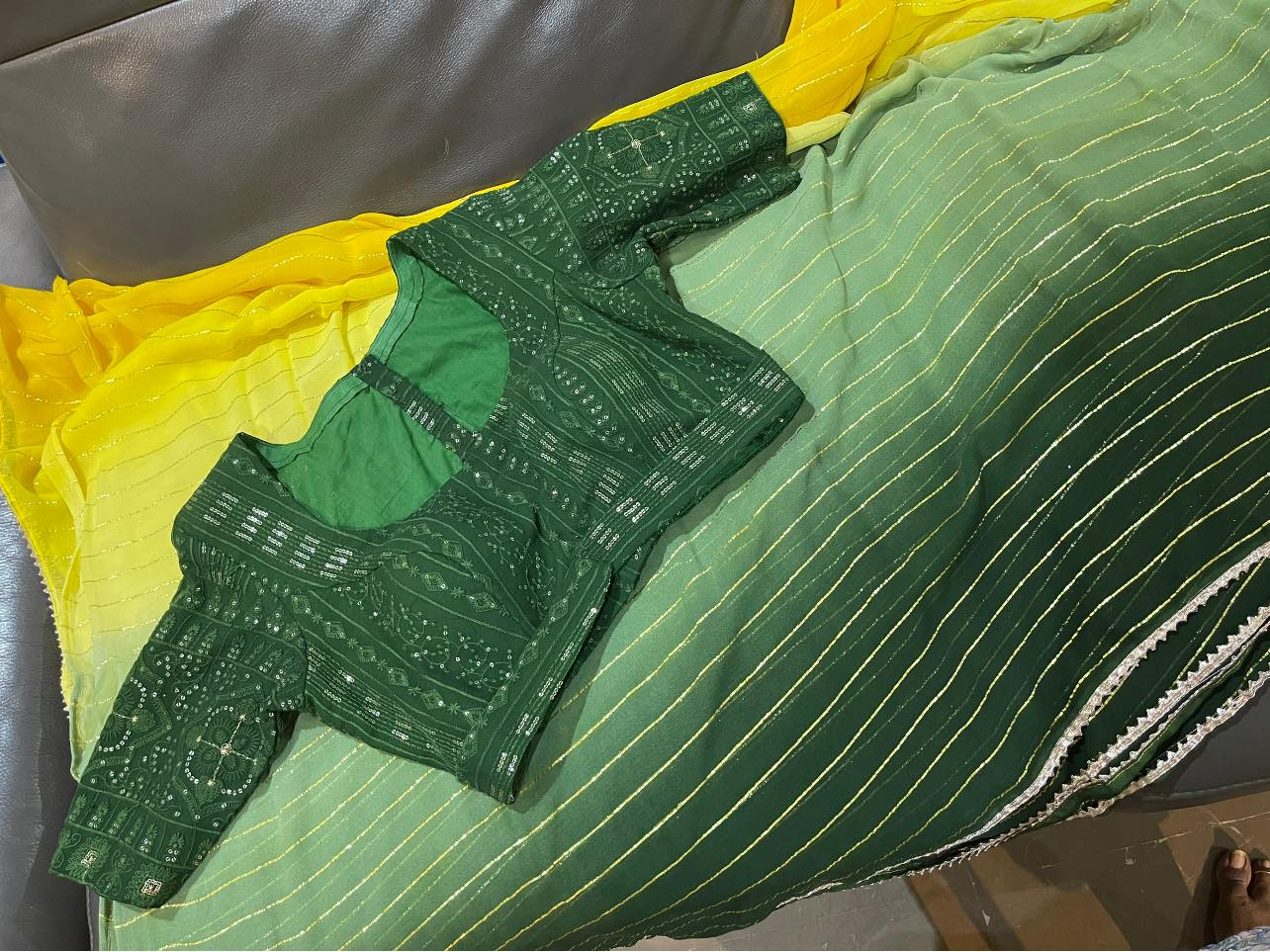 Ready to ship Price : 5500 INR Fabric : Georgette stripes saree with 3 colour shades paired up with chickenkari blouse…  2021-06-16