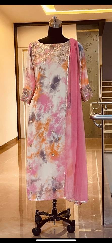 Ready to ship Price : 5000 INR Fabric : Georgette with sequence work kurti. To order WhatsApp 7013728388 2021-06-16