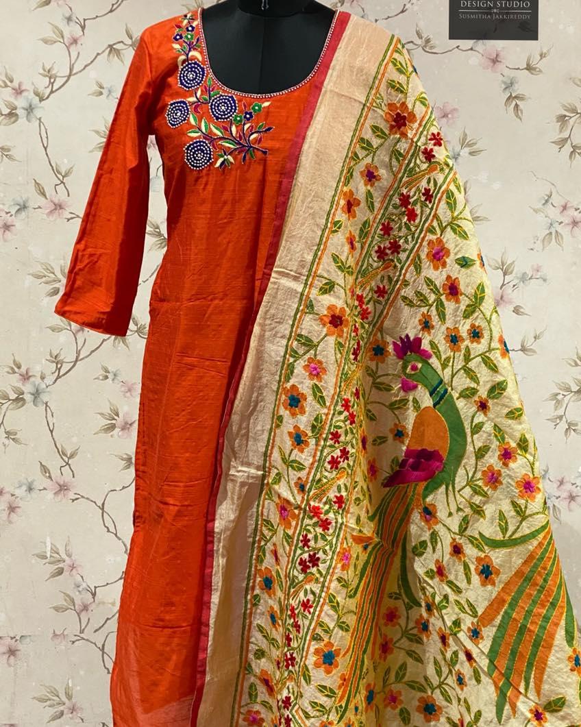 Rawsilk straight  kurti with handwork yoke paired with beige chanderi heavy kantha work dupatta .  Pick any for -$85 2021-06-16