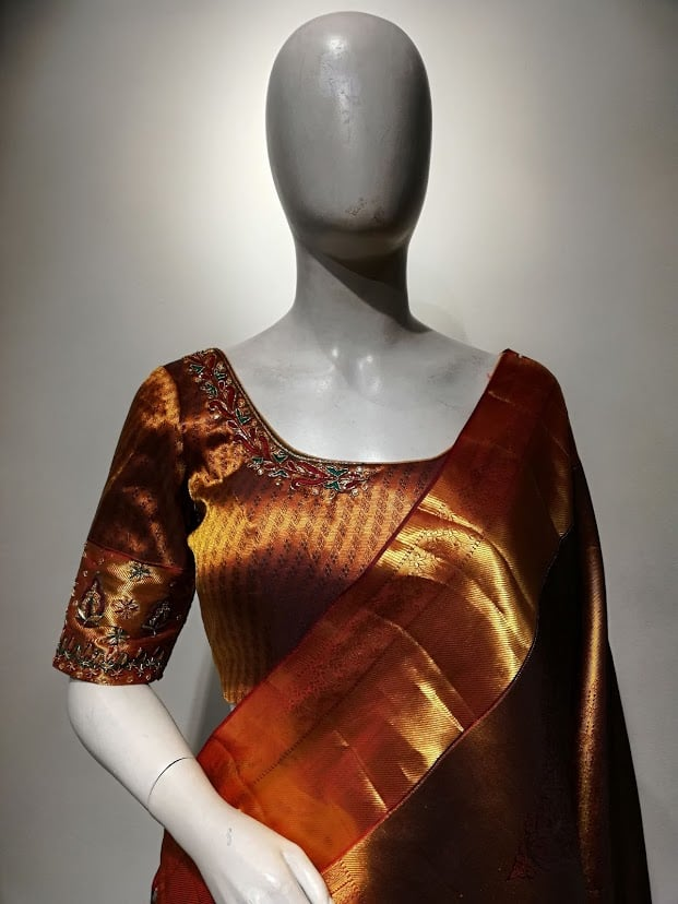 Pure kanjivaram saree with embroidered blouse! 2021-06-16