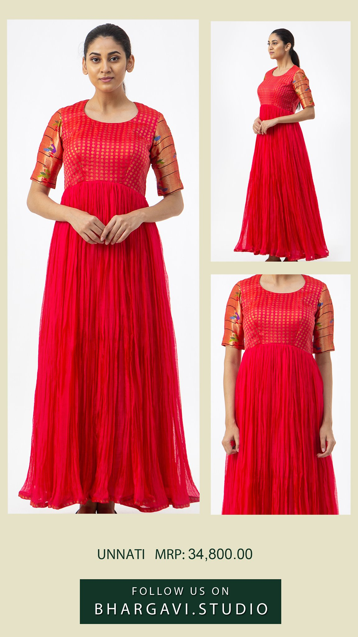 Beautiful red color signature long frock in silk paithani and kota. Price : 34800/- 2021-06-17