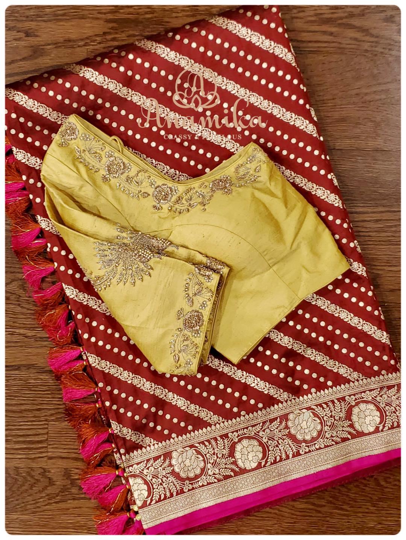 Stunning marron color benarasi saree and lime yellow color aari work blouse. 2021-06-17