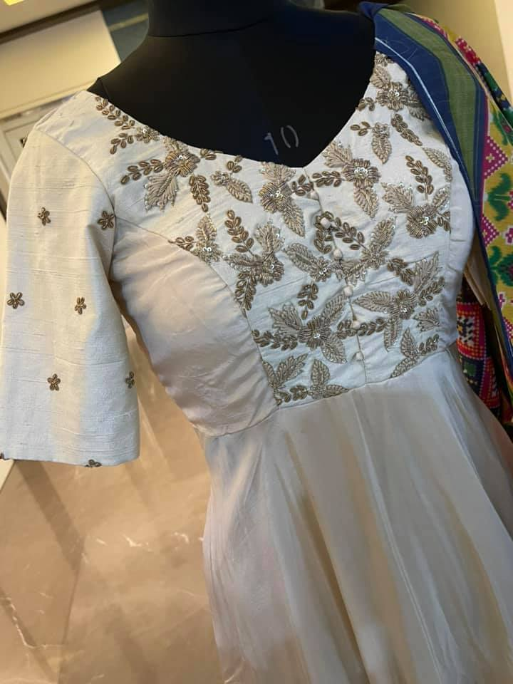 Price : 6800 INR  Rawsilk and Uppada silk long frock paired with Patola style printed Duppatta To order WhatsApp 7013728388 2021-06-17