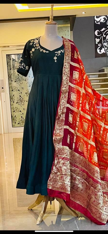 Price : 7500 INR Rawsilk and Uppada silk long frock paired with semi Bandhini Duppatta To order WhatsApp 7013728388 2021-06-17