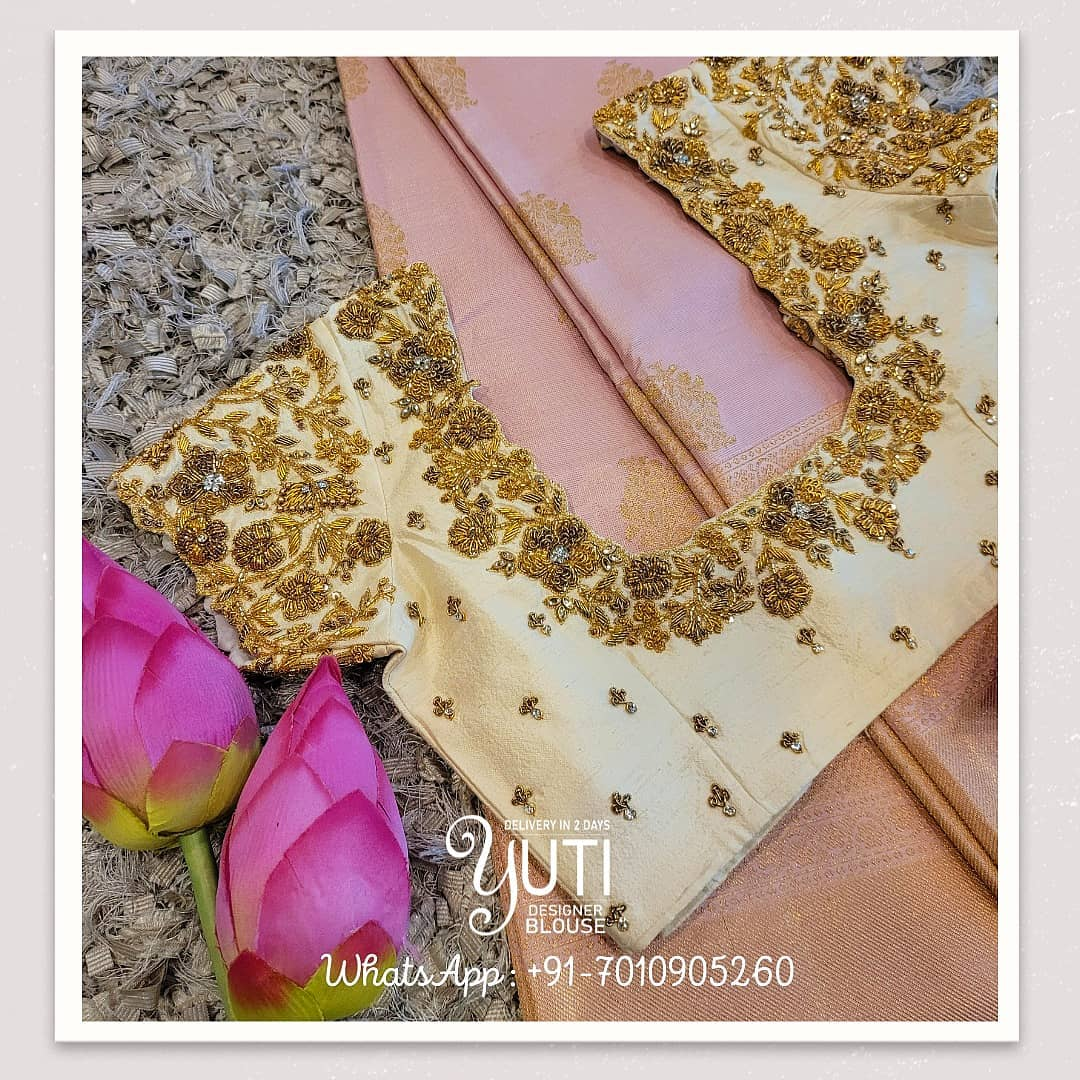Stunning off white color bridal blouse design with floral gold thread and bead zardosi work on neckline and sleeves.  2021-06-17