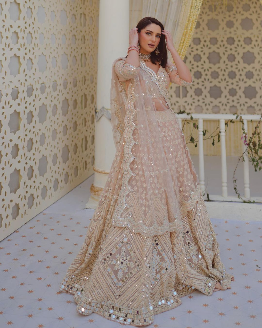 Mirror work bridal lehenga. MASTANA - A Monsoon Curation '21  Presenting a lively and playful monsoon curation where we reimagine a beautiful wedding. 2021-06-17