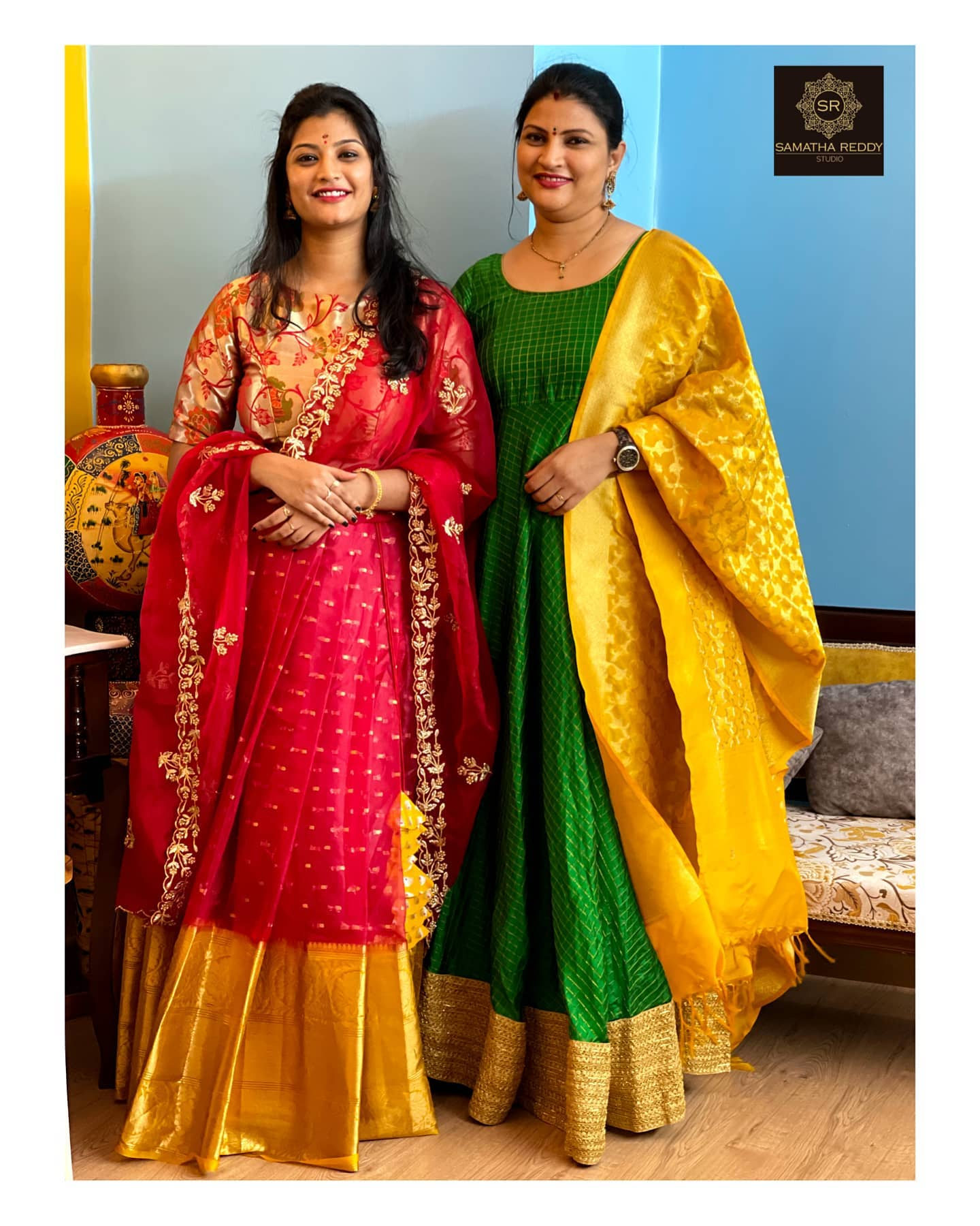 Beautiful designer Samatha Reddy with her daughter in Amma kutty series . She is in green checked long frock with benerasi dupatta. Daughter in pattu long frock with net dupatta.   2021-06-18