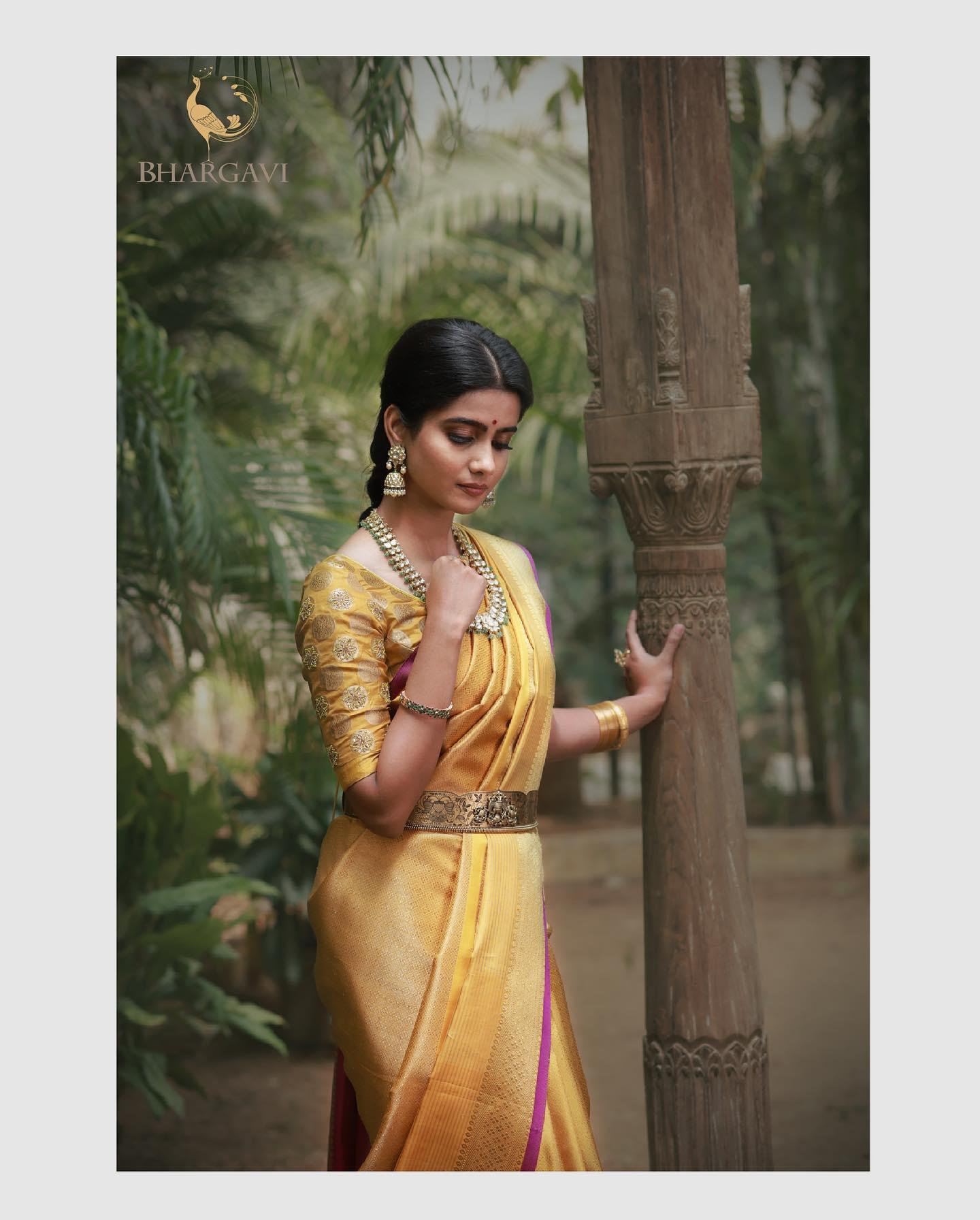 Beautiful yellow color kanchi pattu saree. 2021-06-18