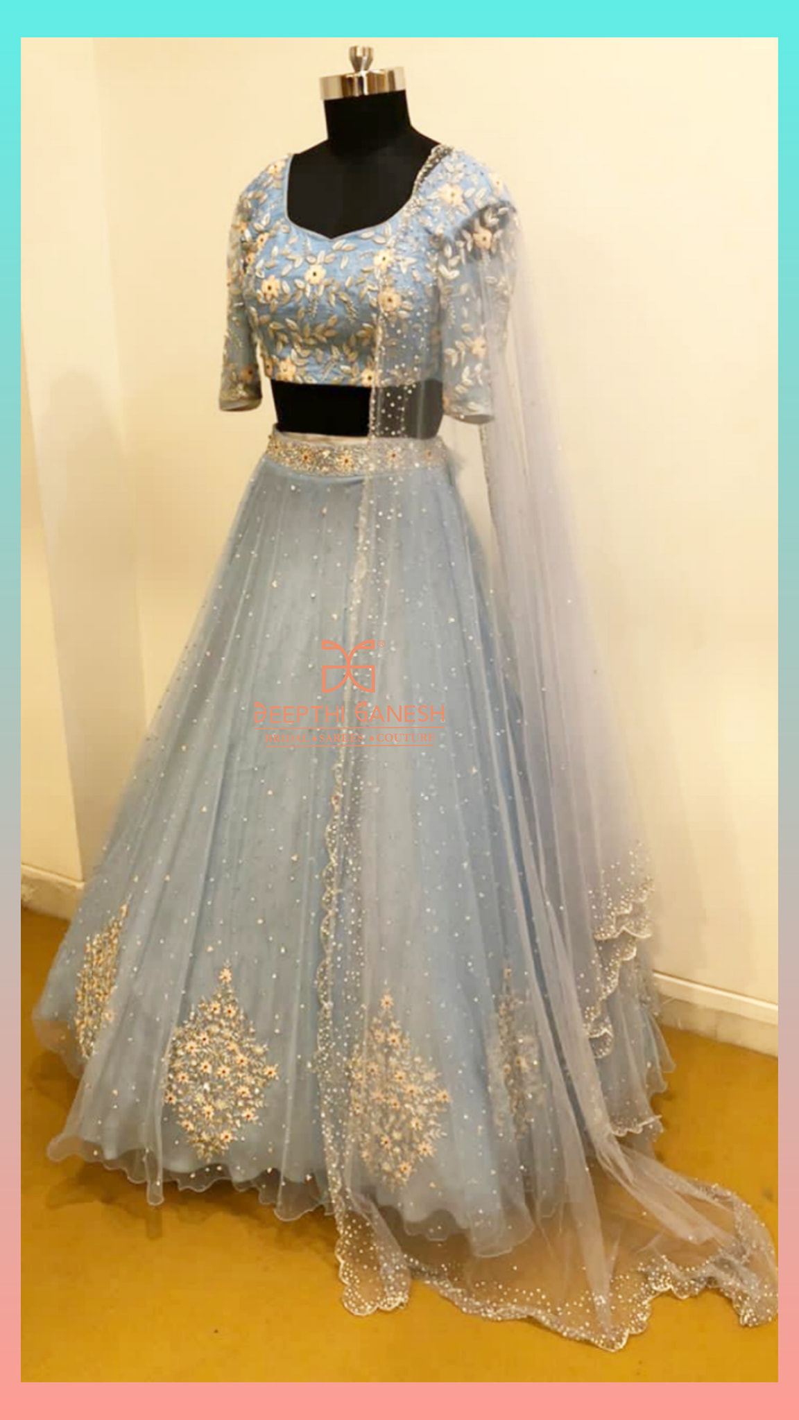 Ice Blue Net Bridal Lehenga !!!Gorgeous ice blue color net bridal lehenga and blouse with dupatta. Blouse with floral hand embroidery work.  2021-06-18
