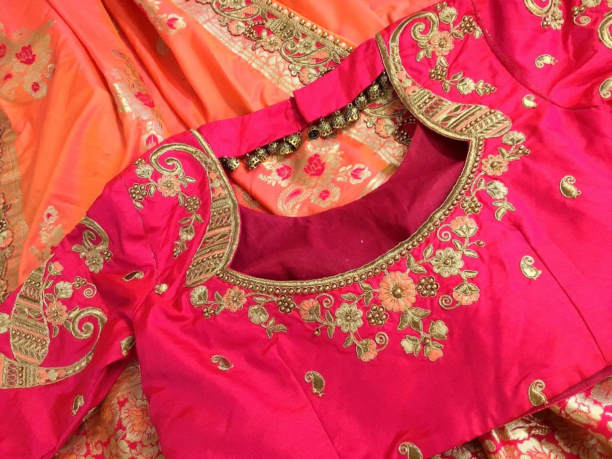 Little details that matters a lot! Beautiful bridal  blouse with simple maggam work. 2021-06-18