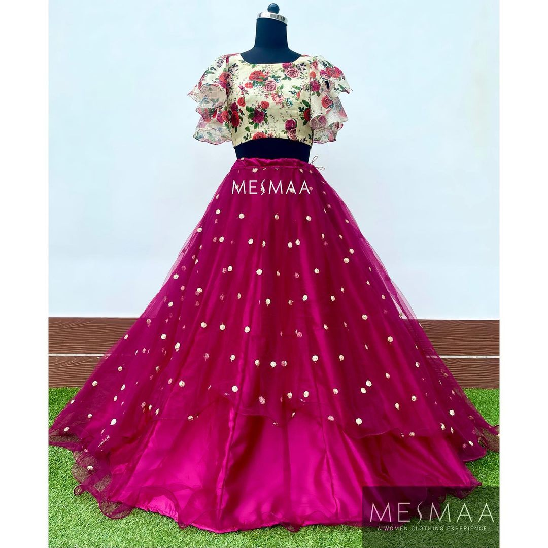 Stunning wine color mirror work skirt and floral blouse with ruffle sleeves. 2021-06-18
