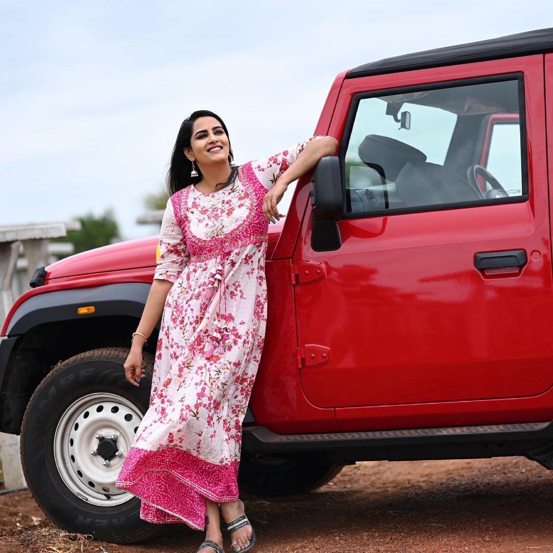 Beautiful actress Himaja in floral long dress. 2021-06-18